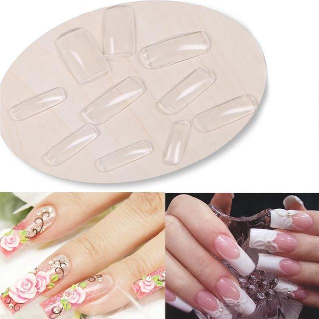 Newest 500pcs Nail Art Clear Half Well False Acrylic Nail Tips For UV Gel Decoration#M01214