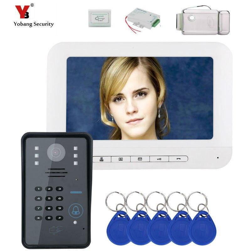 Yobang Security 7 LCD RFID Password Video Door Phone Intercom Doorbell With IR-CUT Camera 1000 TV Line Electric Lock