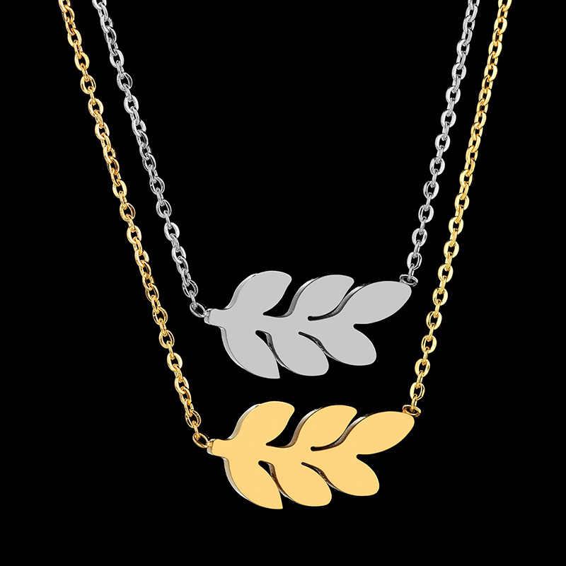 YUKAM بسيط الذهب الفولاذ المقاوم للصدأ شجرة ليف قلادة القلائد محظوظ يترك سلسلة المختنق القلائد للنساء BFF أفضل صديق هدية