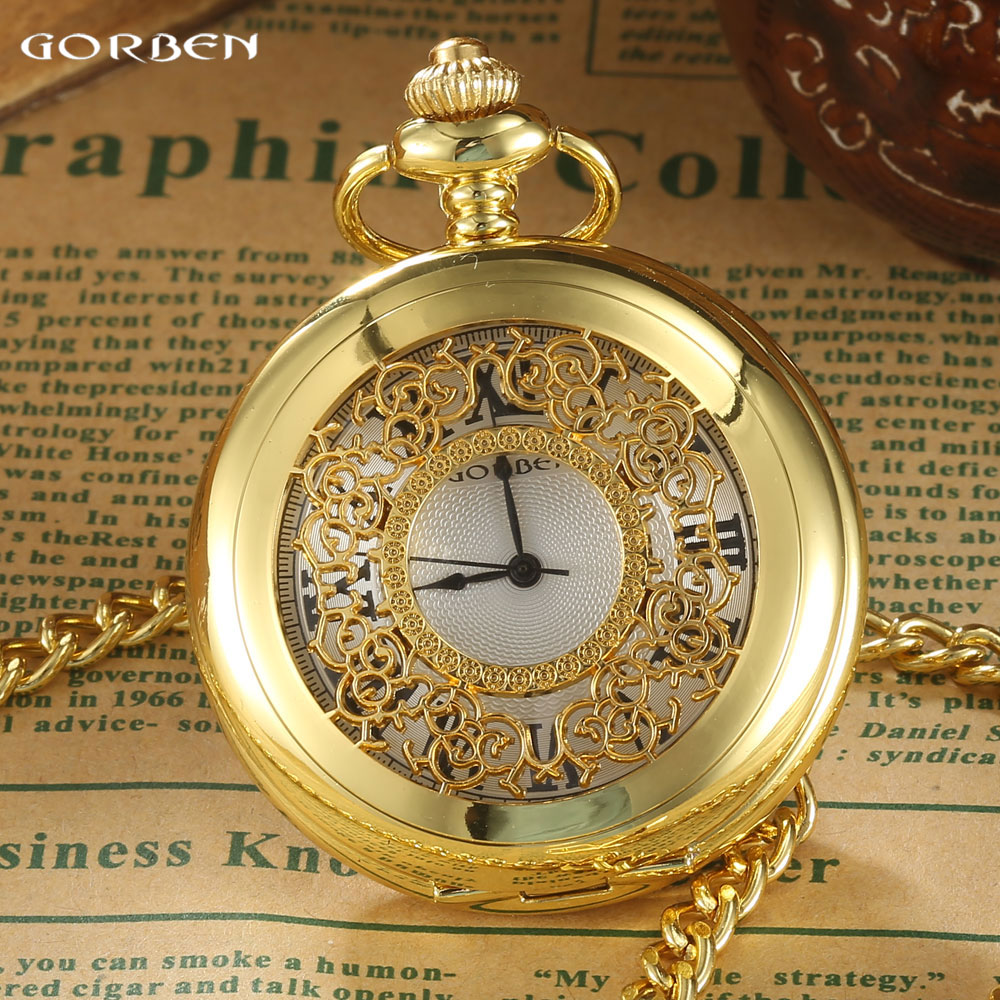 GORBEN Vintage Luxury Golden Hollow Pocket Watch Men Roman Number Dial Quartz Watch Women Pendant Box Waist Chain Round Relogio unique smooth case pocket watch mechanical automatic watches with pendant chain necklace men women gift relogio de bolso
