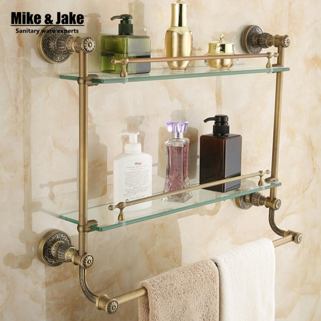 Double level glass Bathroom glass shelf antique brass glass cosmetic ...