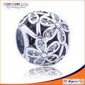 Da flor da margarida beads com clear CZ fit pulseira original 925 sterling silver céu aberto encantos para diy minha esposa presente de aniversário