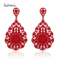 KOMi Earings Fashion Jewelry 2016 Luxury Brand Austria Crystal Hollow Large Elegant Flower Women's Earrings O-061