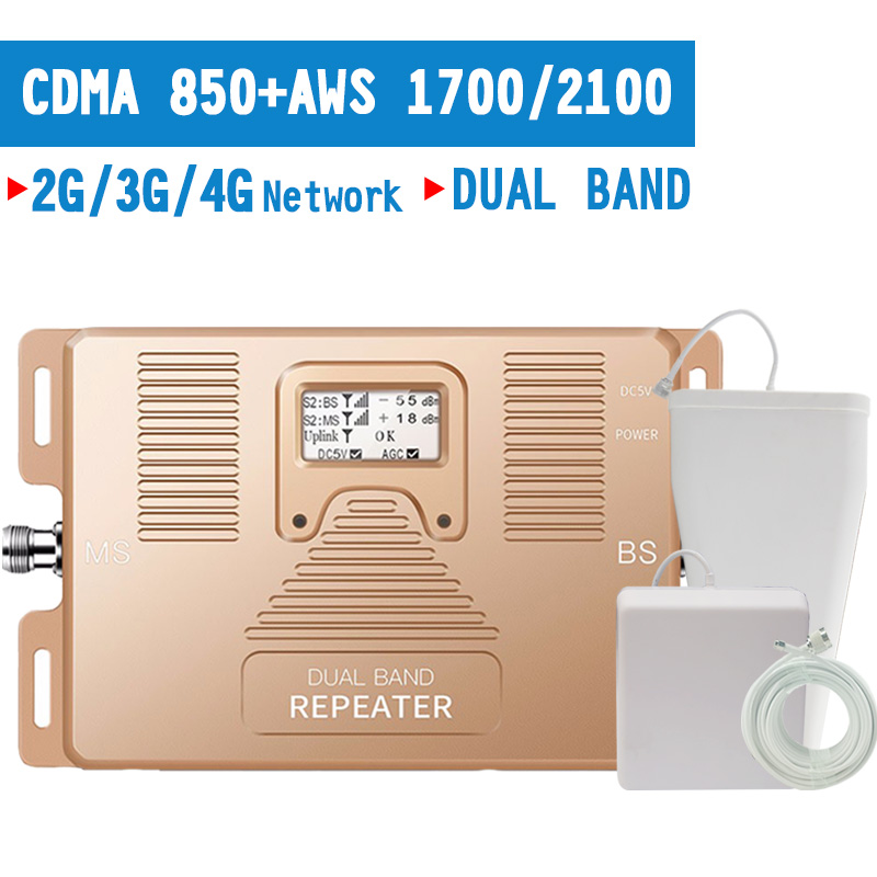 2G 3G 4G Mobile Phone Signal Booster CDMA 850mhz AWS 1700 2100 Cellphone Signal Repeater 4G  LTE Amplifier 70dB Gain LCD Display