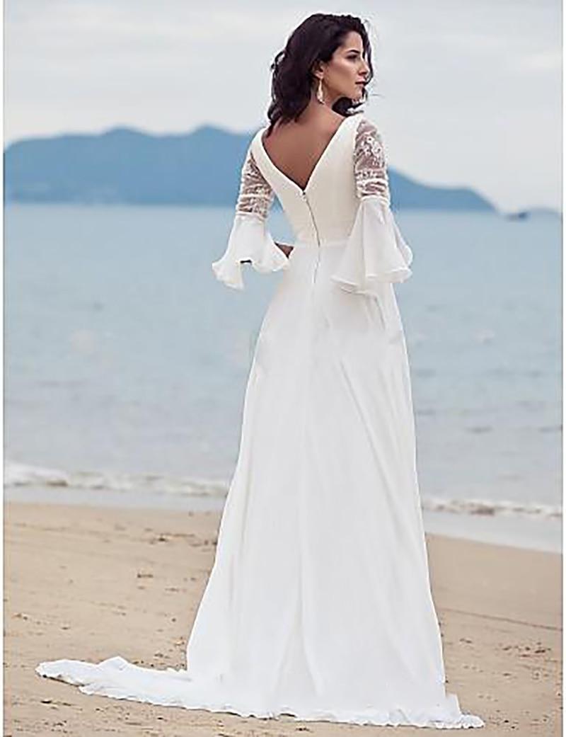 Vintage cuello en V vestidos de novia de gasa estilo Boho Hippie ...