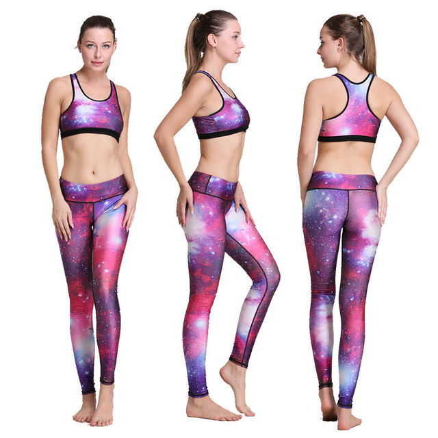 976fda4699 2017 2017 New Purple Galaxy Printed Yoga Pant Sets Training Bodybuilding  Plus Size High Waisted Stretchy Top Sports Bra Outfit