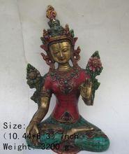 10.44 inch / China Tibet Tibetan buddhist turquoise copper statue of kuan Yin
