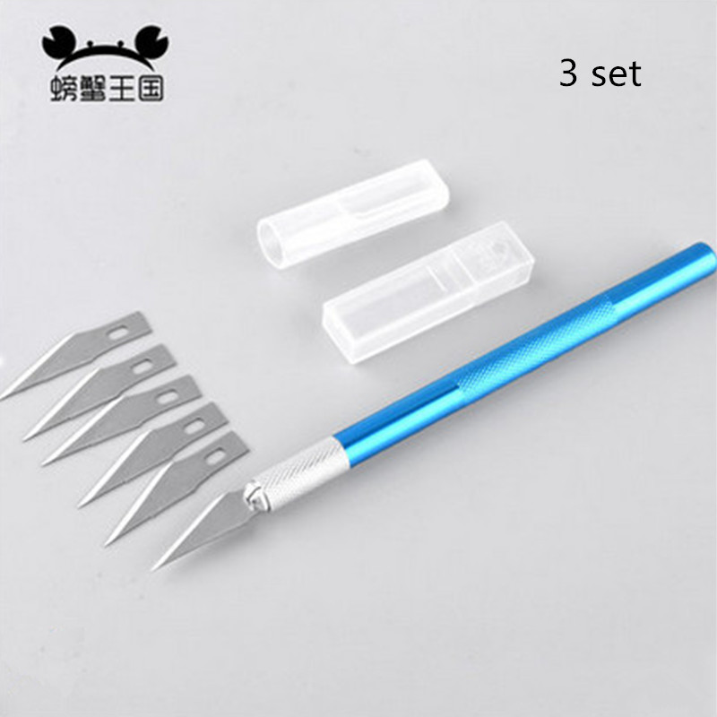 3set Non-Slip Metal Scalpel Knife Tools Kit Cutter Engraving Craft Knives+5pcs Blades Mobile Phone PCB DIY Repair Hand Tools