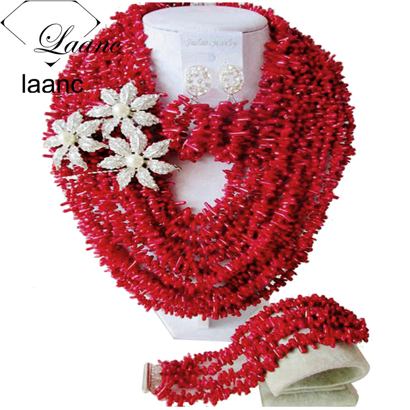Laanc Red Coral Beads Nigerian Wedding African Coral Necklace Jewelry Set Bridal Jewelry Sets AL557 стоимость