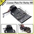 Motocicleta Telescópica Plegable LED Light Side Mount soporte de Matricula Para Harley Sportster Dyna Fat boy 883 1200 XL 07-16