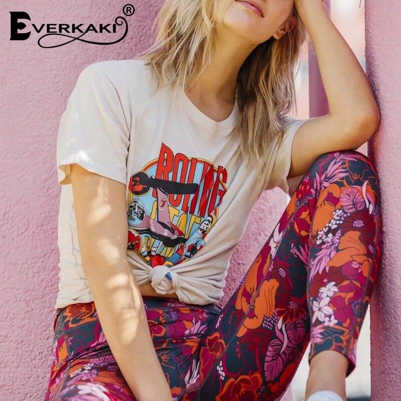 Everkaki Bohemian Vintage Print T-Shirt Women Summer Tops Hippie Tops Tees Female 2019 New Female Boho Summer Clothes For Women