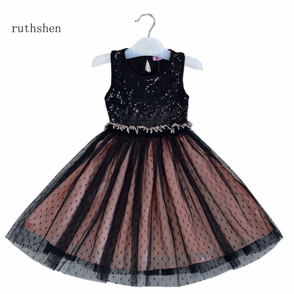 ruthshen Princess   Flower     Girl     Dresses   With Sleeveless A Line Lace Tulle Kid Gowns Cosplay Costume 2018