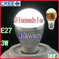 3W 5W E27 LED Bulb Dimmable Cree Energy Saving Lamp light White\Warm Light 85V-260V CE ROHS 300 lumen 2PCS/LOT