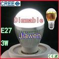3W 5W E27 LED Bulb Dimmable Cree Energy Saving Lamp light White\Warm Light 85V-260V CE ROHS 300 lumen 2PCS/LOT