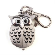 New Elegant Gorgeous Owl Stainless Steel Watch Clip Pocket Watch Keychain Best Gift LXH