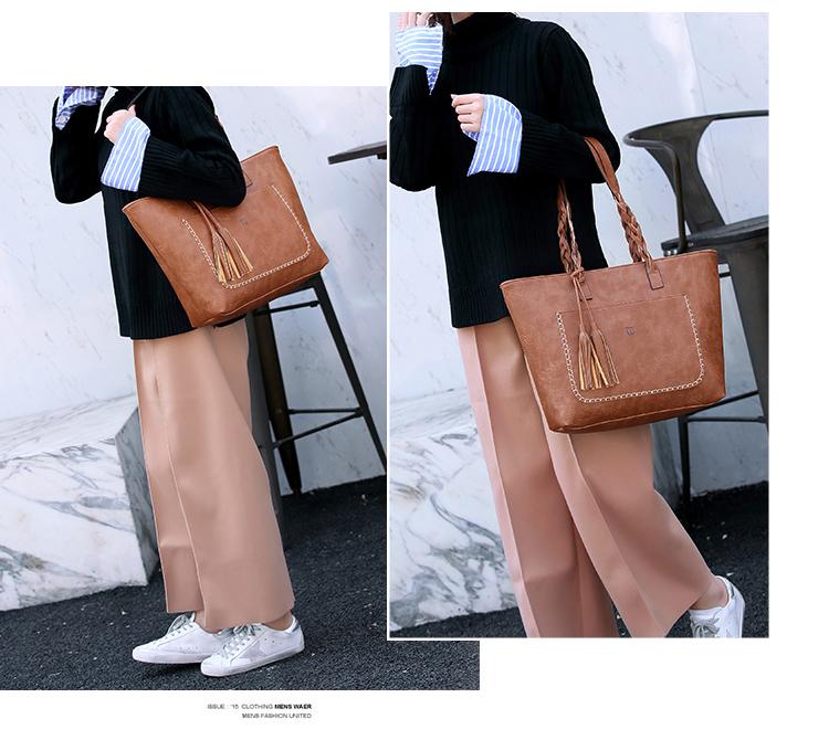 Tinkin  Vintage PU Tassel Women Shoulder Bag Female Retro Daily Causal Totes Lady Elegant Shopping Handbag 6