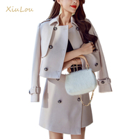 2017 Autumn Winter Jacket Women Two Piece Set High Quality Wool Blends 2pcs Sets Fashion Slim
