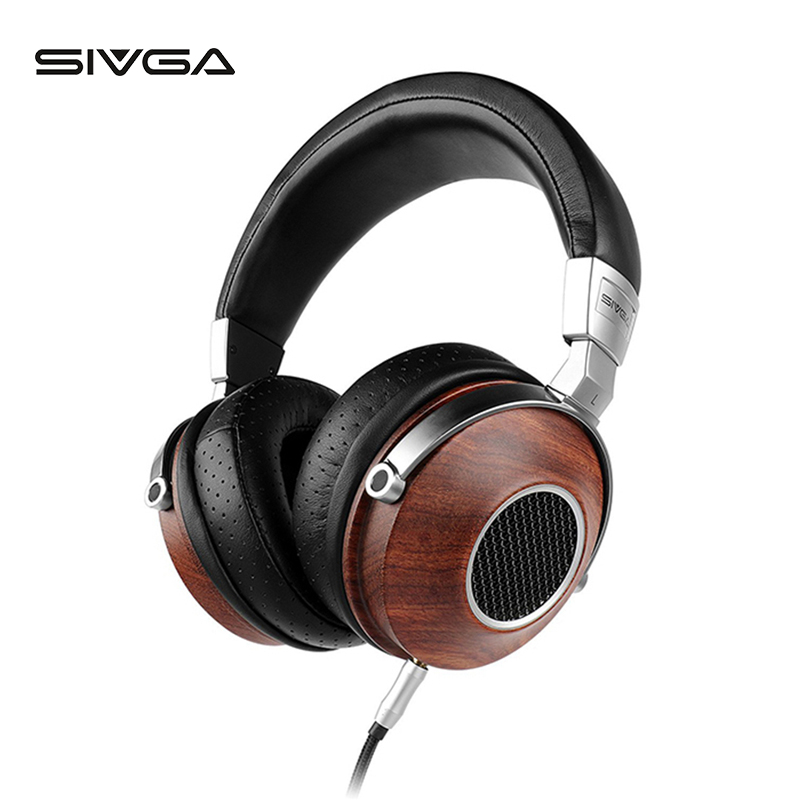 SIVGA SV007 Houten BASS HIFI Stereo Noise Isoliation Over ear DJ Dynamische Wired Hoofdtelefoon met Microfoon