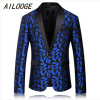 AILOOGE Mens Royal Blue Printed Blazer Pattern Slim Fit Blazers Men One Button Suit Jacket Stage