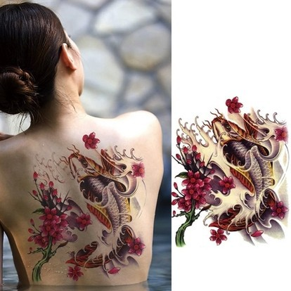 large big fish flower designs Temporary tattoo stickers Waterproof body paint tatoo drawings women back - BE IN FASHION store