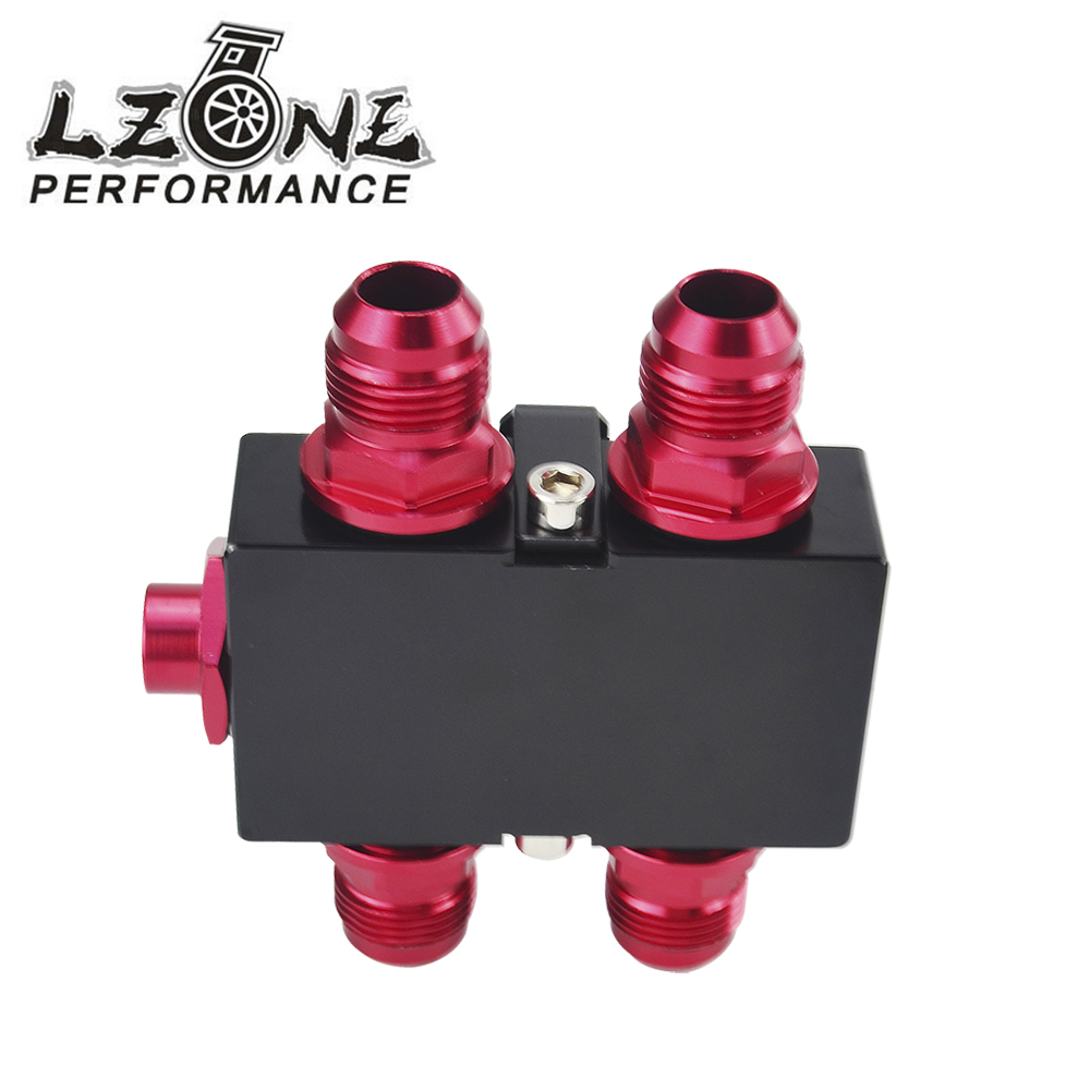 LZONE RACING - Oil Filter Sandwich Adaptor With In-Line Oil Thermostat AN10 fitting Oil Sandwich Adapter JR5672BK цена