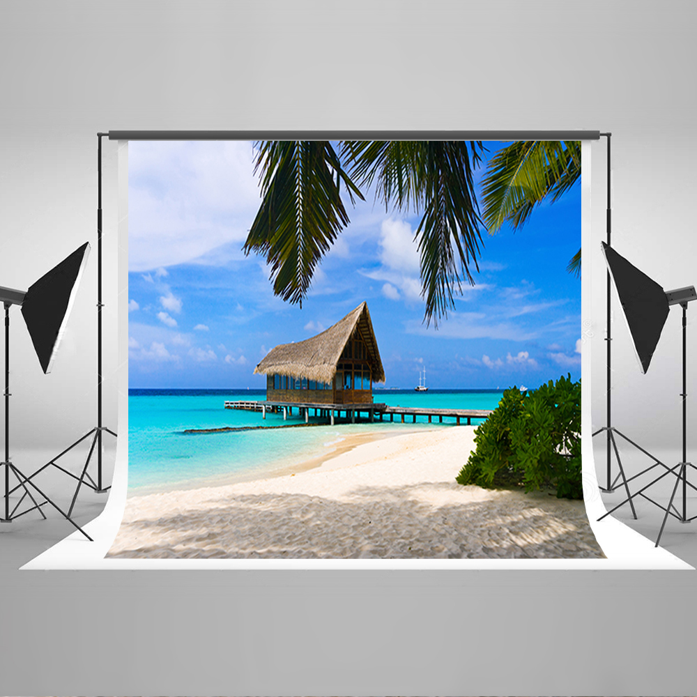 Wedding Photography Background Blue Sky White Clouds Digital Printing Backdrops Sunny Beach House Backgrounds for Photography blue sky white clouds beach coconut tree backdrops fotografia fundo fotografico natal background photograph