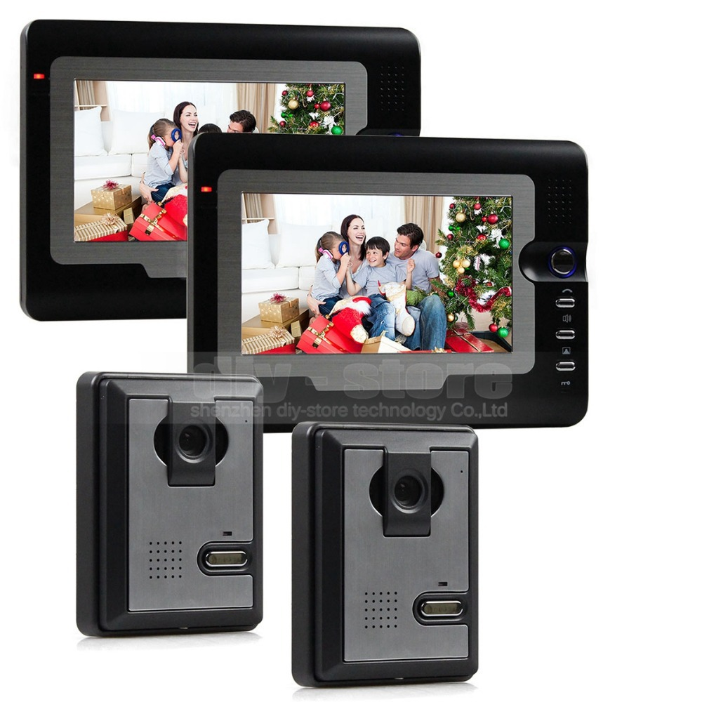 DIYSECUR High Quality 7inch Tft Lcd Video IR Night Vision Door Phone Doorbell Home Security Intercom System 2 Monitor - 2 Camera 2 4ghz wireless 7 tft monitor 300kp video door phone w 6 ir led night vision black