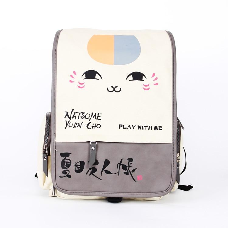Korean Fashion Cute Face Print Schoolbag Beige Plush Cat Canvas Backpack Women Student School Leisure Cartoon