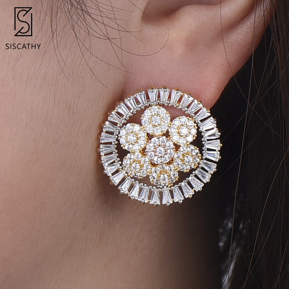 SISCATHY Trendy Korean Earrings Flower Shape Stud earrings For Women Full Cubic Zirconia Earrings pendientes mujer moda 2019
