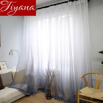 Занавески с градиентным цветным принтом, вуаль, серое окно, современные занавески для гостиной, тюль, прозрачная ткань, Rideaux Cortina T & 185 #30