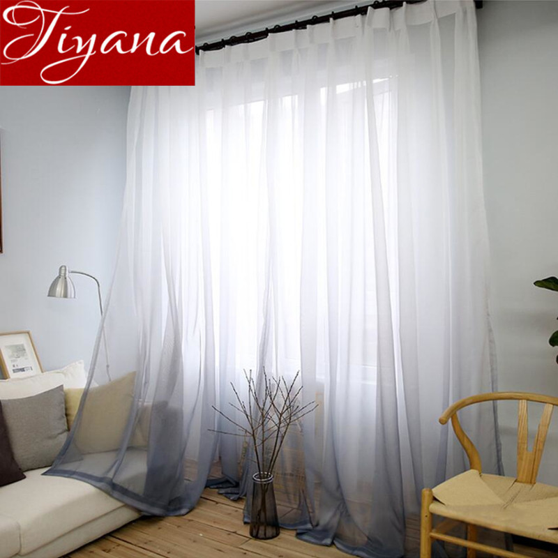 Curtains Gradient Color Print Voile Gray Window Modern Living Room Curtains Tulle Sheer Fabrics Rideaux Cortinas T&185 #30 tulle curtains 3d printed kitchen decorations window treatments american living room divider sheer voile curtain single panel