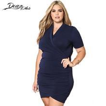 Для женщин трикотажные короткий рукав Stretch Fit платье Сексуальная Bodycon драпированные Платья для женщин плюс Размеры Femme 3XL большой над Размеры Vestidos Mujer