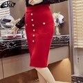 Elegantes Señoras de La Manera Falda Paquete Falda de La Cadera Bolsillos Femeninos de Corea Desgaste DEL Trabajo DEL OL Faldas de Las Mujeres Delgadas Más Tamaño Lápiz Faldas 5XL