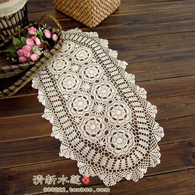 2017 New Design French Style Needle Crochet Table Cloth Coffee Runner Decoration Gremial Beige Cover For Wedding