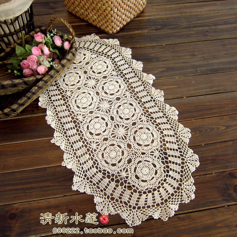 2014 New Design French Style Needle Crochet Table Cloth Coffee Table Runner  Decoration Gremial Beige Table