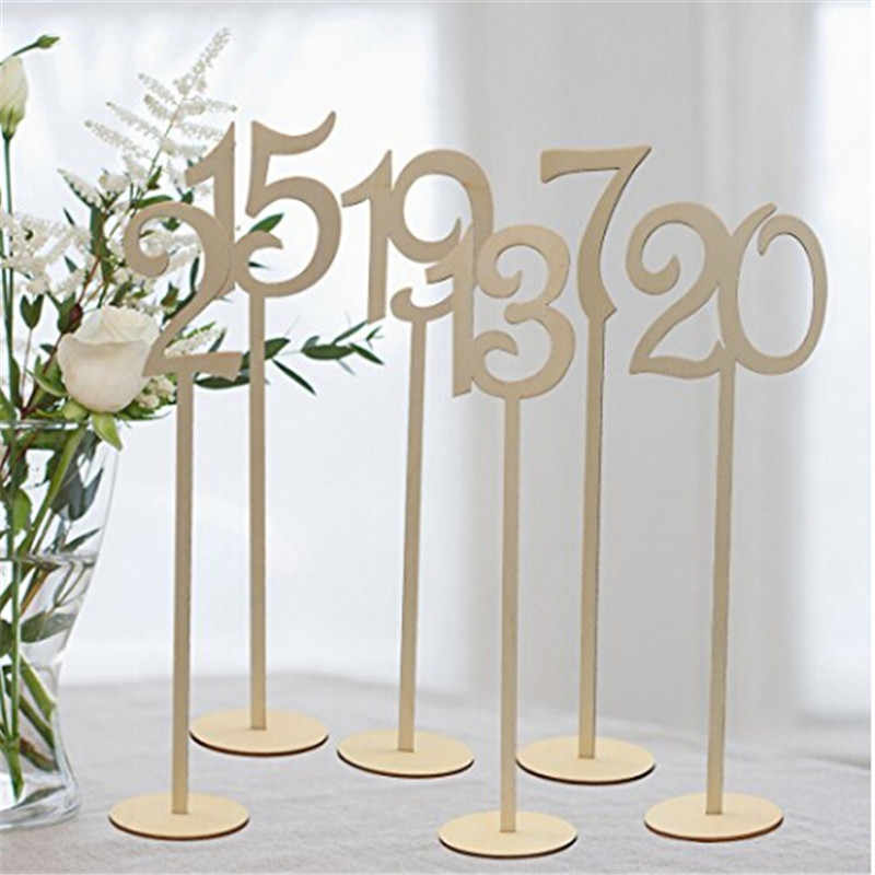 10pcs/pack Hot Style Wooden Wedding Supplies Wedding Place Holder Table Number Figure Card Digital Seat Decoration