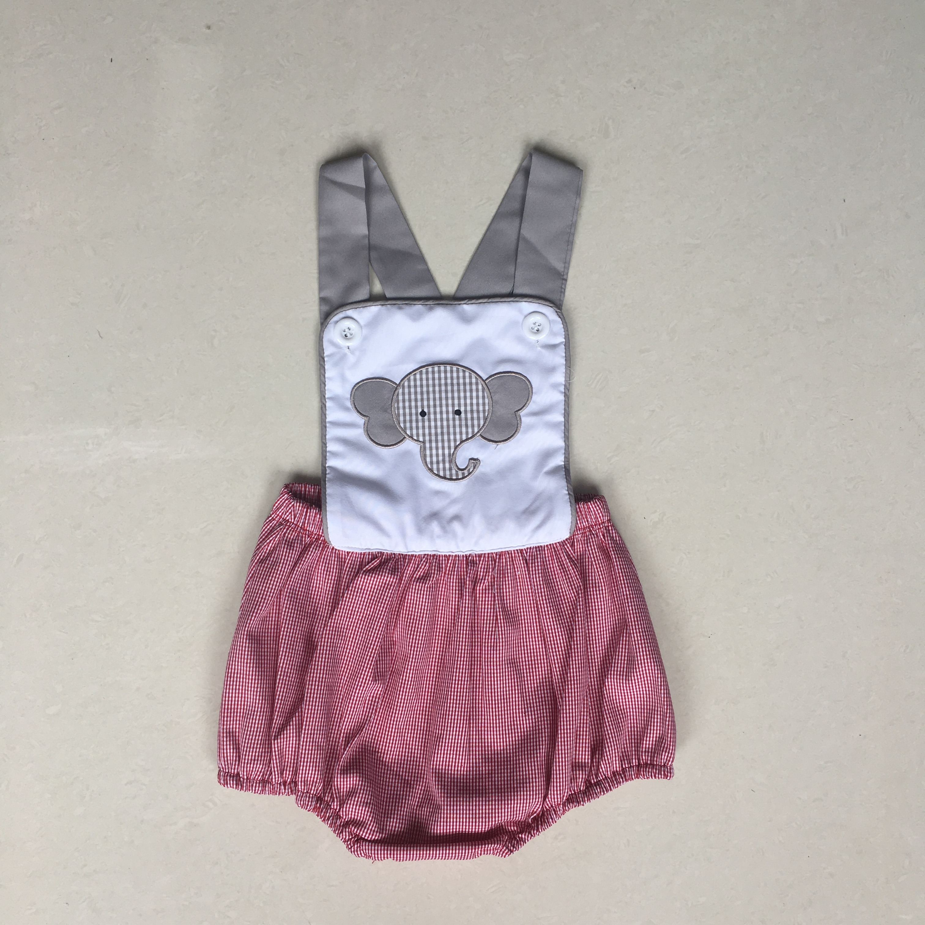 Puresun Fashion Summer Sibling Design Boy Romper Elephant Pattern Embroidery Bubble Boy Gingham Boutique Baby Cloth