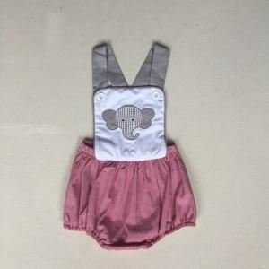 Image 1 - Puresun Mode Sommer Geschwister Design Junge Strampler Elefanten Muster Stickerei Blase Junge Gingham Boutique Baby Overall