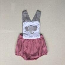 Puresun אופנה קיץ אחים עיצוב ילד Romper פיל דפוס רקמת בועת ילד בוטיק משבצות תינוק סרבל