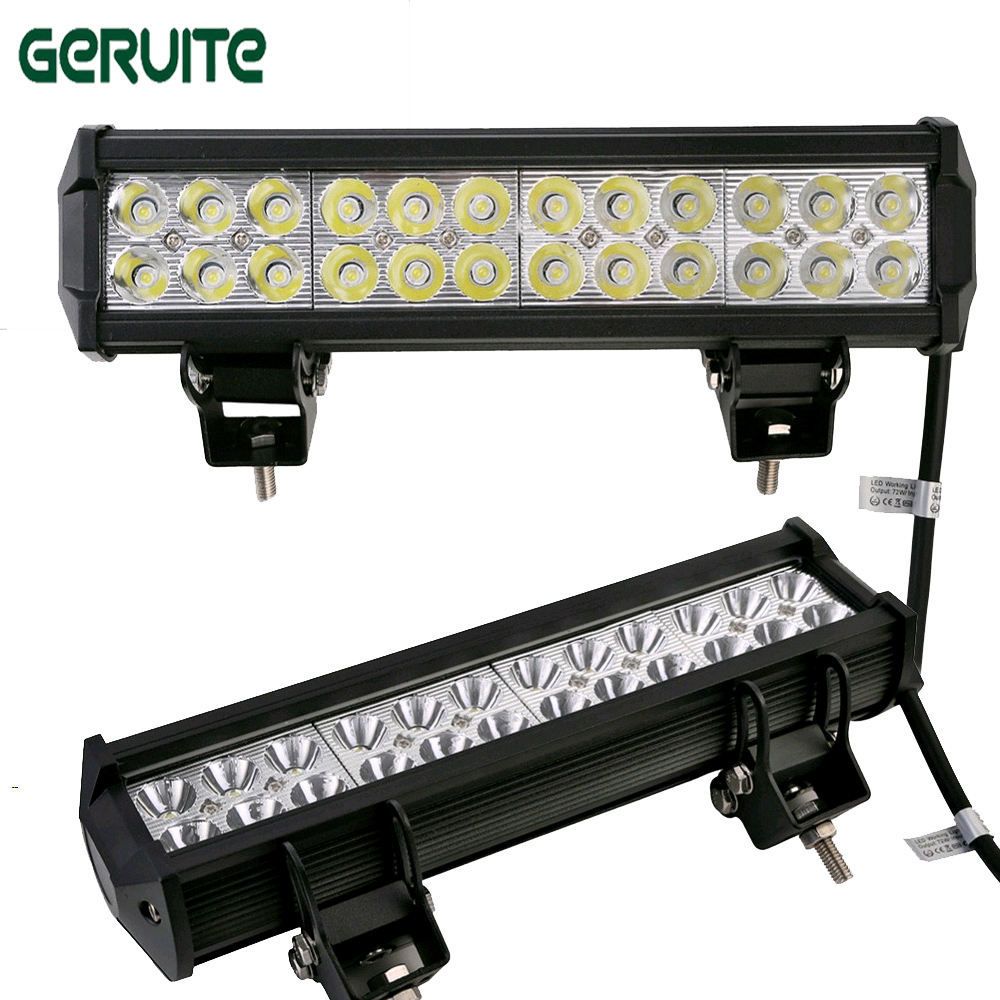 72W LED Work Light Bar for Tractor Boat OffRoad 4WD 4x4 Truck SUV ATV Spot Flood Combo Beam 10pcs/lot LED lamp car headlight