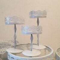3 pezzi Ferro Metallo Bianco del merletto del basamento Della Torta/torta vassoio/bigné/piatto di frutta/Pasticceria vassoio di nozze decorazione