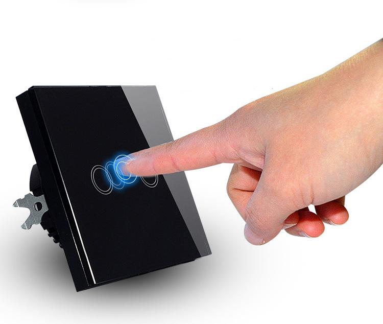 Estilo de LA UE 2 Gang interruptor de Iluminación de cristal Touch Panel interru