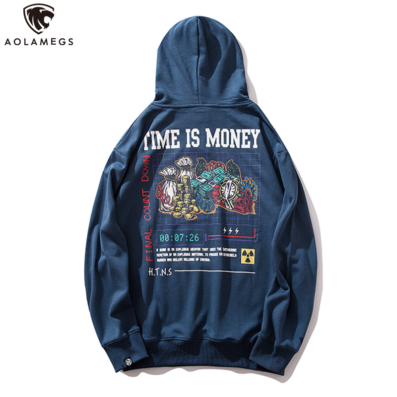 Aolamegs Hoodies Men Retro Painting Printed Men Pullover Fashion Advanced Casual Hooded Cool High Street Couple Streetwear