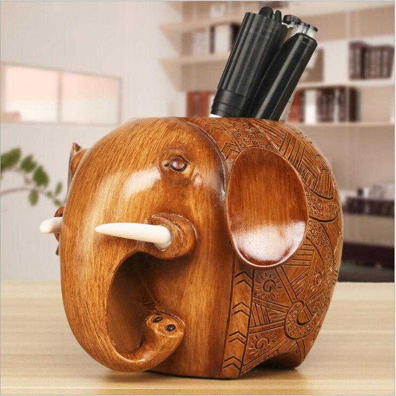 1PC Modern Style Resin Elephant Statues Pen Holder Resin Brush Pot Home Decor Figures Animal Pen Container Ornament