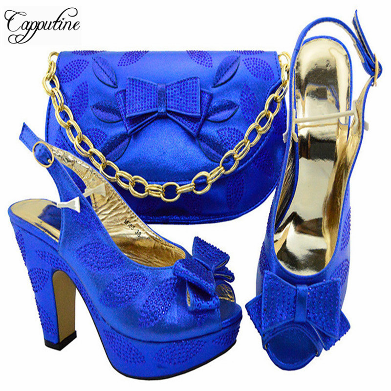 Capputine Italian New Fashion Woman Shoes And Bag Set Summer African High Heels 10.5CM Shoes And Bag Set For Party YM005