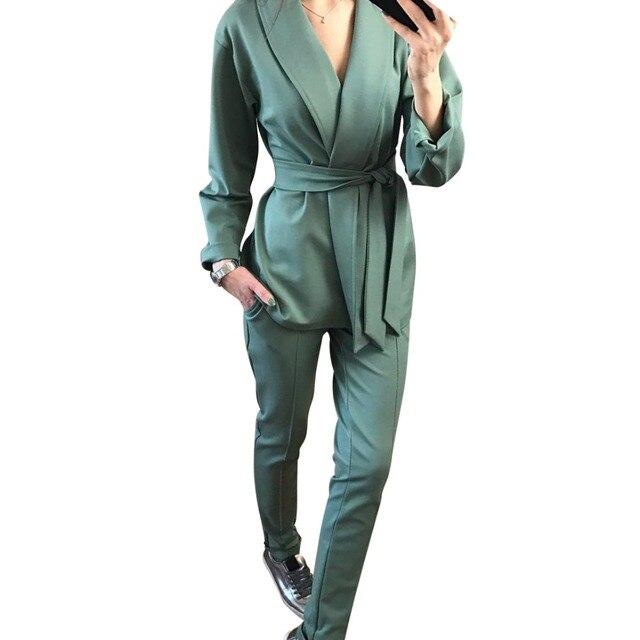MVGIRLRU thời trang Công Sở Nữ Bộ quần áo khăn choàng cổ áo thắt lưng áo áo khoác và quần hai bộ OL Dạo Phố