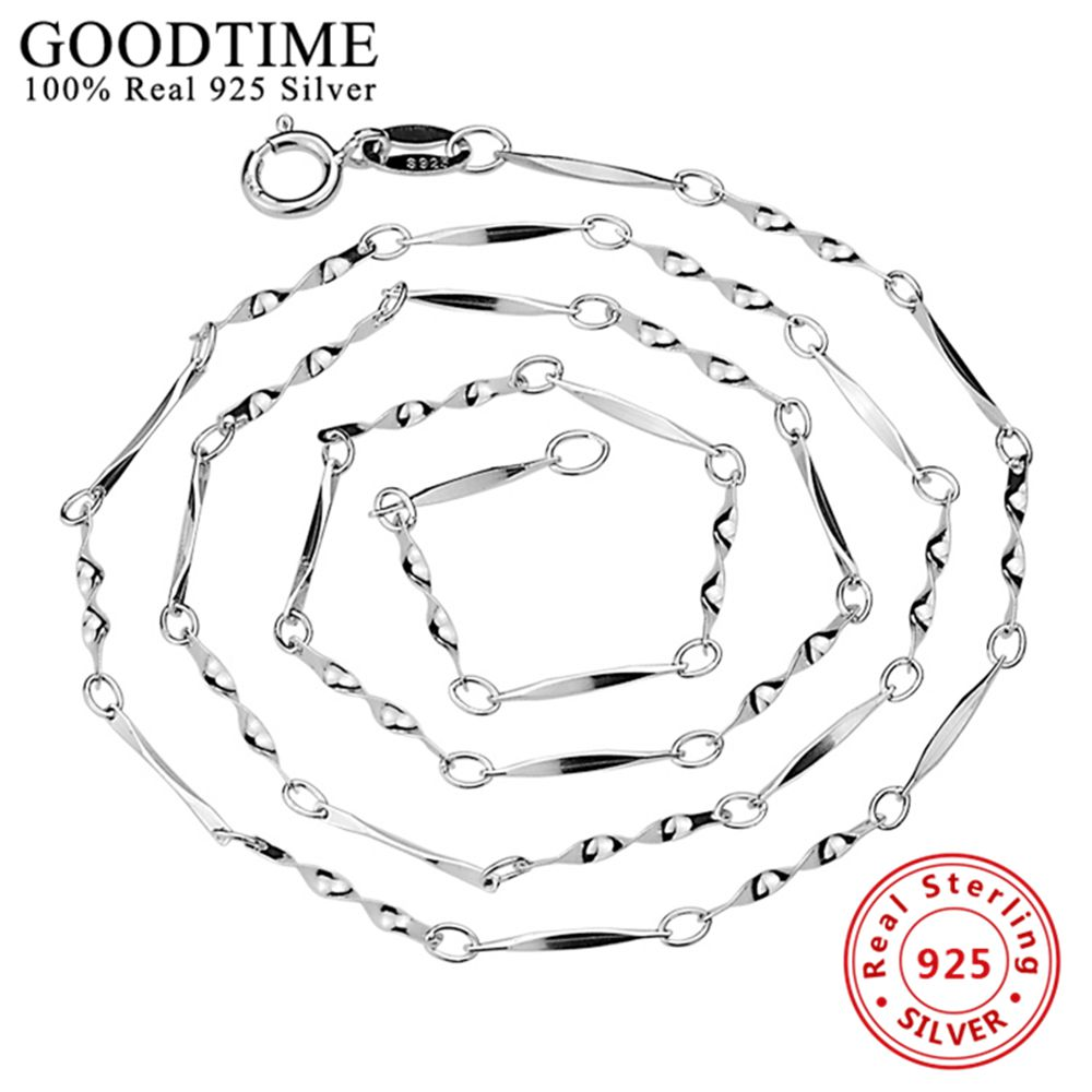 Wholesale Sterling Silver Jewelry Pure Silver Classic Twisted Chain Necklace Real Solid 925 Sterling Silver Link Chains  AJC005