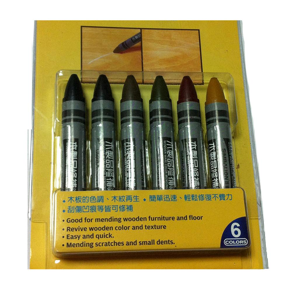 6pcs in a Pack Touch up Crayons Wax Stick Filling Scratches Dings in Wood Furniture Floors