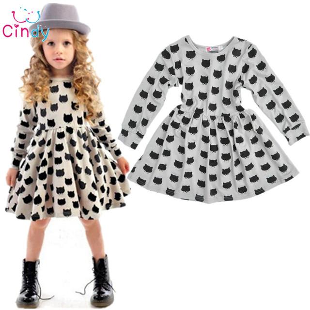 Bébé fille automne robe enfants chat noir à manches longues vêtements enfants casual coton dot vêtements automne princesse filles robes