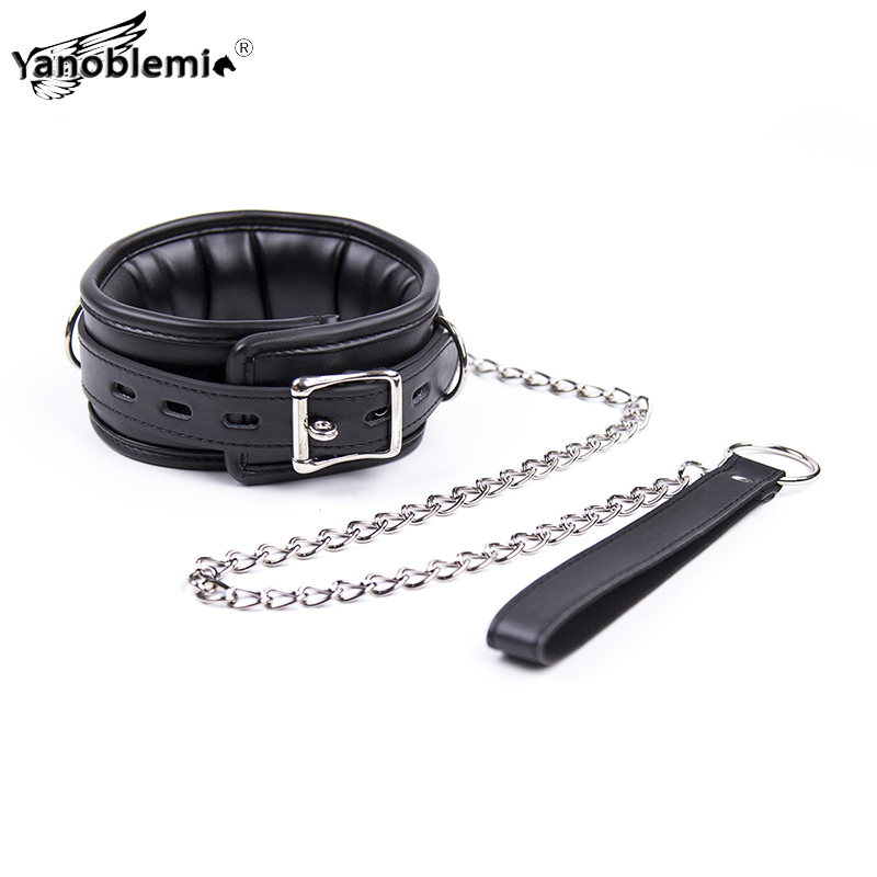 PU Leather Sponge Black Bdsm Collar Metal Chain Leash Bondage Sex Toys For Woman Couples Adults Erotic Accessories Slave Games